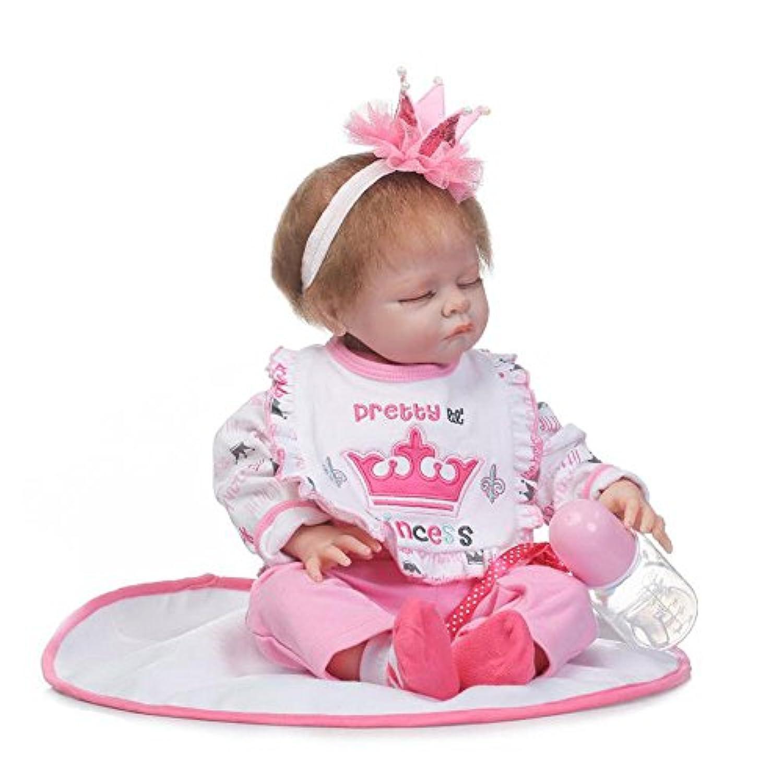 ソフトSilicone Lifelike Sleeping Girlおしゃぶり人形Reborn Babies Littleプリンセス服装Wait Mommy Adoption、22インチ