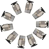 LEOWAY PC4-M10 Male Straight Pneumatic PTFE Tube Push in Quick Fitting Connector for E3D-V6 Long-Distance Bowden Extruder 3D Printer (Pack of 10pcs)