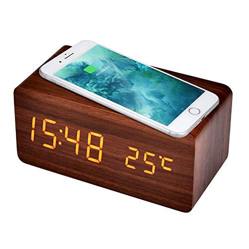 AUSHEN 置き時計 目覚まし時計 掛け時計 QI ワイヤレス充電機能 木目調 デジタル時計 アラーム時計 木 北欧 卓上 日付 温度 省エネ