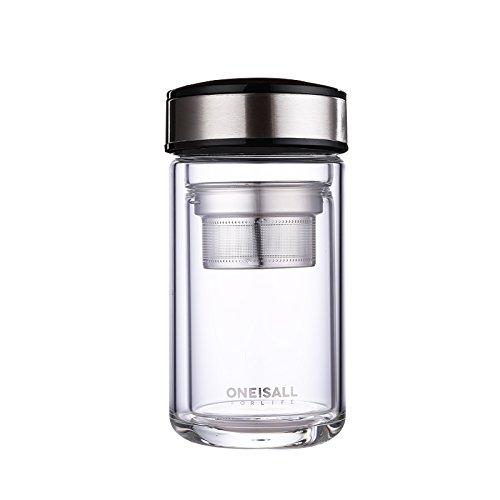 BEYONDA 320ML 耐熱ガラス水筒 透明ガラス水筒 二重ガラス ビジネス用ボトル ステンレス茶こし付き ケータイマグ 男女兼用 贈り物 お茶入れ水筒 直飲み DHTGYBL04603 (鋼本)