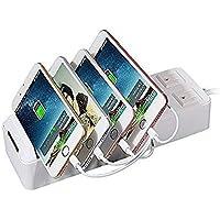 充電ステーション 収納充電器 収納スッキリ USB充電スタンド (収納ケース内蔵/スイッチ付き/2電源タップ/4つUSBポート/コード