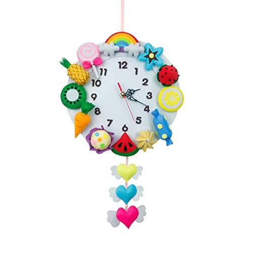 TINKSKY 楽しい森林 時計 DIY作りキット 不織布 クラフト 手作り 裁縫用品 子供の寝室 装飾(果物と野菜の時計)