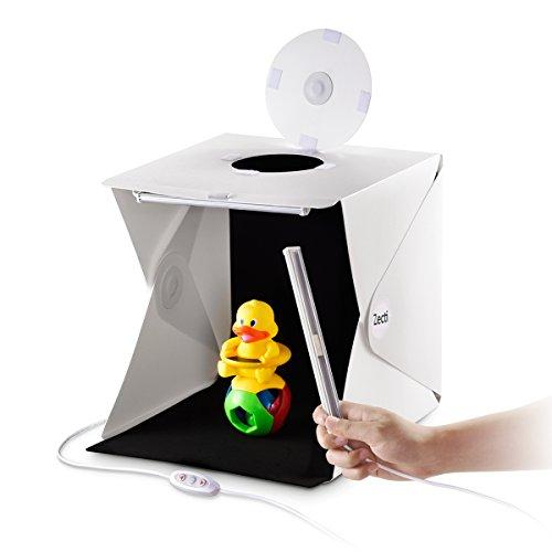 撮影ボックス Zecti 小型 簡易スタジオ 30*30*30 cm 2×調光可能なLEDストラップ 2バリエーション背景付き 組立簡単 折り畳み 携帯型USB給電 撮影キット