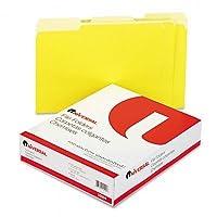 ユニバーサル–Coloredファイルフォルダ、1/3カット、one-ply Topタブ、文字、イエロー/LTイエロー、100/BX–Pack of 5Byユニバーサル