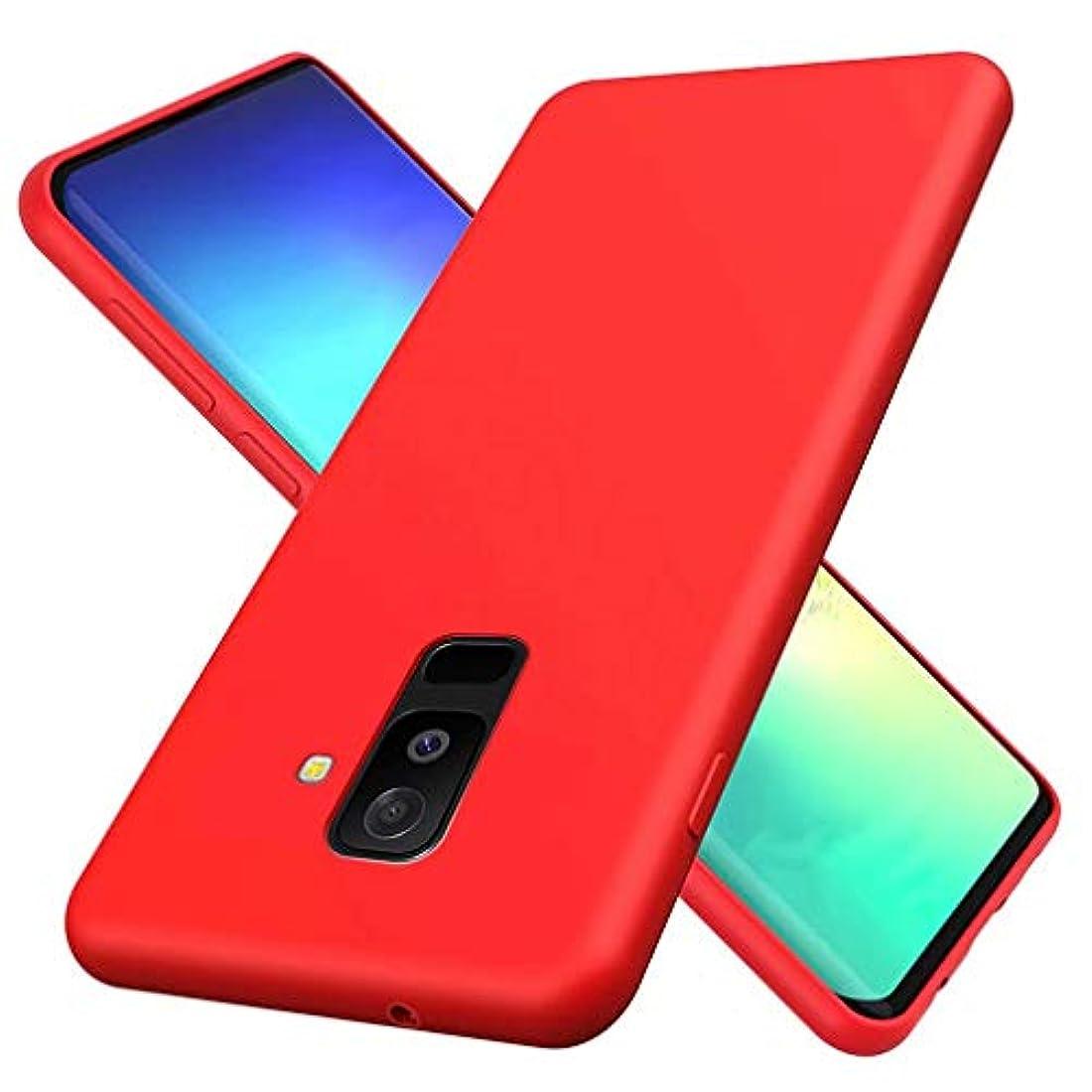 散髪特異なスマイルSamsung Galaxy A6 Plus 2018ケースFHXD柔軟TPU液体シリコン保護ケース擦り傷防止耐衝撃指紋防止ケース(レッド)