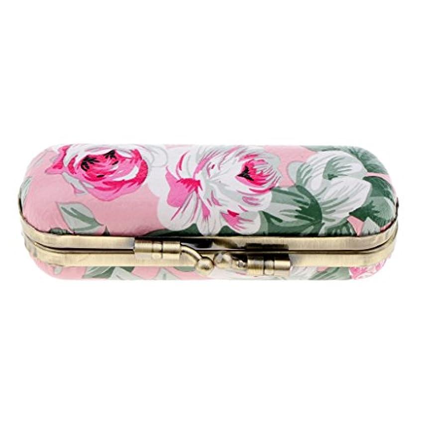 舌投げるアナニバー口紅ケース 花柄 おしゃれ リップスティック リップグロス 収納ケース 収納ボックス ミラー付 5色選べ - ピンク