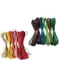 Prettyia 12 Colors 1.5mmx10m Waxed Cotton Cord Cotton Cord String Threads Thread Cords Wax Cotton Cord for Jewelry Making Craft