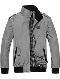 Fly Year-JP メンズカジュアルスタンドネック軽量プラスサイズ野球ボンバージャケットコート