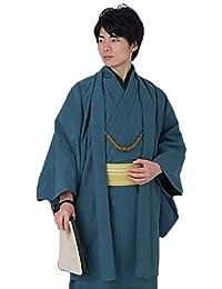 [KIMONOMACHI] 男性 羽織単品「エンジ、ブルー、ネイビー、ブラック、グレー」S、M、L、2L、3L ポリエステル羽織 洗える羽織 紬風