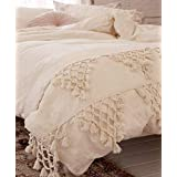 Flber Ivory Duvet Cover Boho Cotton Tassel Bedspreads Comforter Quilt Cover Full Queen86inx90in