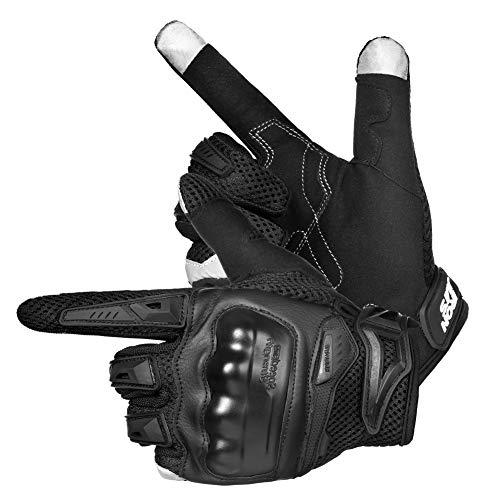 バイクグローブ オートバイ 手袋 スマホ対応 タッチパネル対応 滑り止め 耐衝撃 通気性 耐用性 男女兼用 夏用 ブラック XL