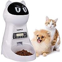 WOpet 自動給餌器 自動餌やり器 猫 中小型犬用 ペット自動餌やり機 タイマー式 録音可 最大15日連続自動給餌 3.5L容量 中小型犬猫 (ホワイト)