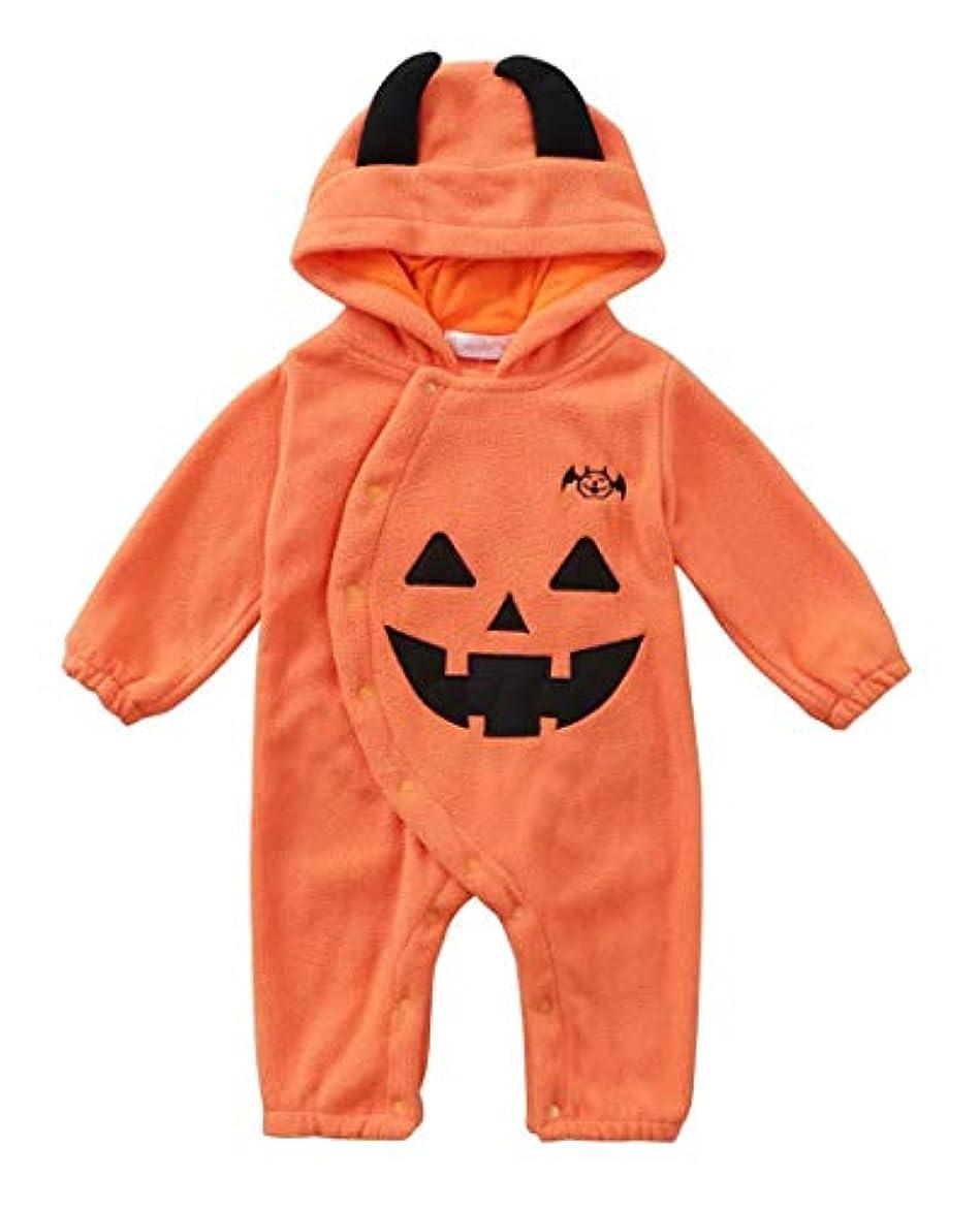 見えるメルボルン体男性の赤ん坊の息子と娘の赤ん坊はハロウィン服装のカボチャは粒の絨のフード付きの登山するオールインワンの衣服のオールインワンのズボンに揺れます (0-6月)