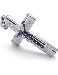 [テメゴ ジュエリー]TEMEGO Jewelry メンズステンレススチールヴィンテージペンダントゴシックイエスキリストの十字架クロス主の祈りのネックレス、ブラックシルバー[インポート]