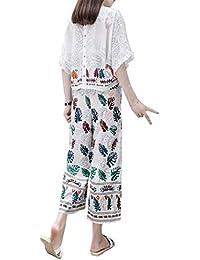 ワイドレッグパンツスーツ夏の新しいファッション女性遊び心高いウエストルーズ薄い半袖ツーピース