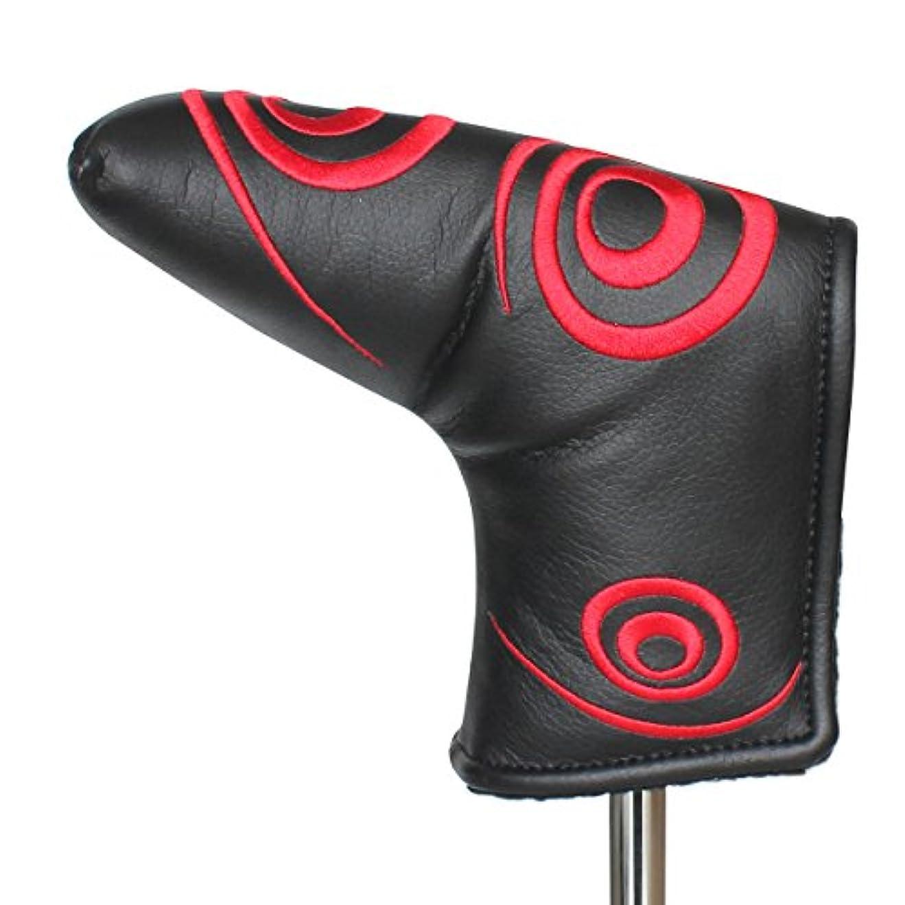 たとえモック暫定Craftsman Golf赤い渦巻き ブラック パターカバー ヘッドカバー タイトリスト スコッティ・キャメロンピンブレード用 マグネット開閉
