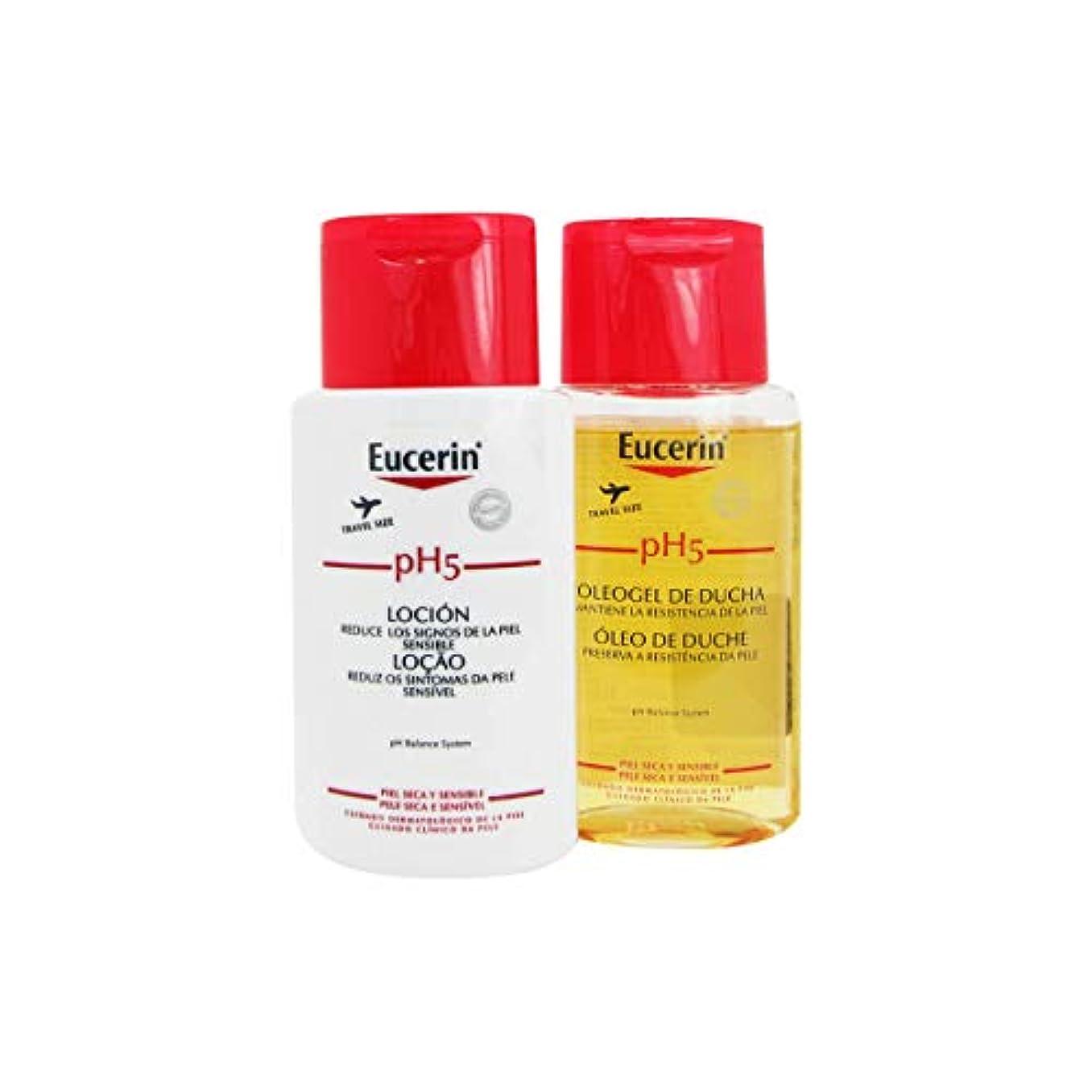ループ浅い阻害するEucerin Pack pH5 Shower Oil 100ml + Body Lotion 100ml