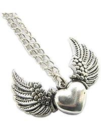 古代シルバーハート翼LoveネックレスSupernatural Wings Protection Amulet Wiccanジュエリー天使の翼