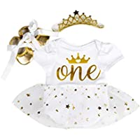 Marlegard Baby Girls' 3PCs 1st Birthday Bling Stars Tutu Dress Crown Headband Shoes