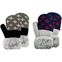 2 & 3 Pairs Toddler Fleece Lined Knit Mittens Baby Boys Warm Winter Mittens Little Kids Cozy Mittens