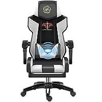 ゲームの椅子のマッサージャーの腰椎サポートおよび引き込み式の足台の革が付いている大型の高い背部人間工学的のレースの座席90-150度のあと振れ止めの調節の椅子 (Color : 2)