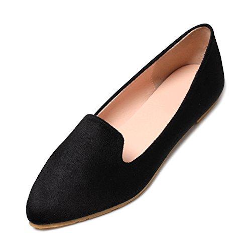 (オチェーンタ)OCHENTA 男女兼用 ポインテッドトゥ パンプス 黒 フラットシューズ レディース 靴 大きいサイズ ブラック 23.5cm