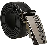 uxcell Men Ratchet Leather Belt with Nickel Automatic Sliding Buckle Black 35mm