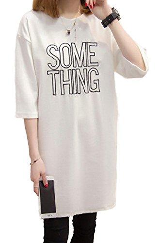 【Smile LaLa】 レディース チュニック Tシャツ プリント ロゴ Uネック 七分袖 体型 カバー ロング カジュアル ボーイッシュ (L, ホワイト)