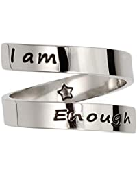 Suyi Inspirational Motivational Ring Stainless Steel Adjustable Ring Personalized Engraved Stacking Ring for Women