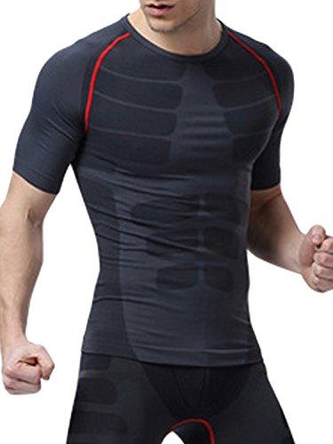 liberte riche(リベルテ リッシュ) 加圧シャツ Tシャツ 加圧 半袖 Tシャツ メンズ 加圧トレーニング 腹筋 効果 インナー 体幹筋 お腹 引締め メンズインナー グレー×レッド L