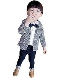 8eea785258a8c HIMOE フォーマルスーツ 男の子 子供スーツ 千鳥格子 長袖 3点セット 結婚式 発表