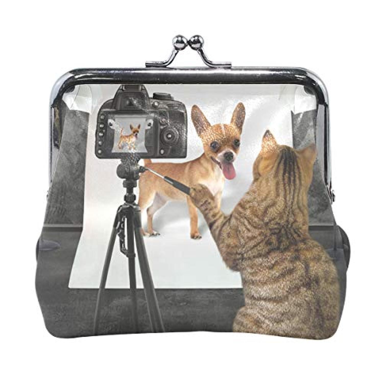 AOMOKI 財布 小銭入れ ガマ口 コインケース レディース メンズ レザー 丸形 おしゃれ プレゼント ギフト オリジナル 小物ケース 犬柄 猫柄