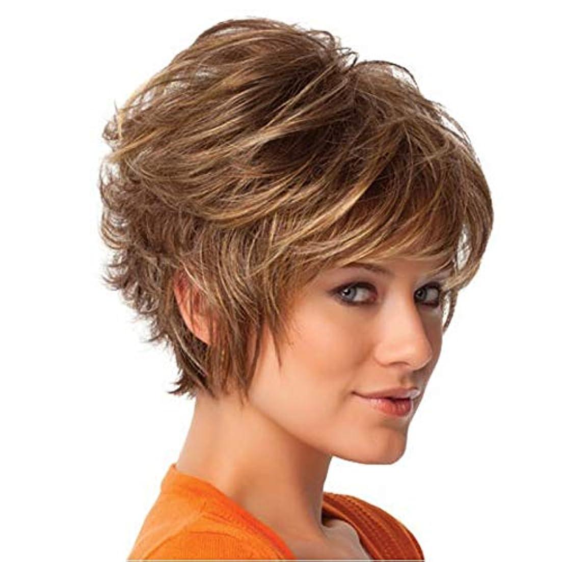 逃げるトレイル事前にYOUQIU 女性のファッション金髪ショートカーリーヘアボブスタイルウィッグ耐熱Resisantのかつら (色 : Blonde)