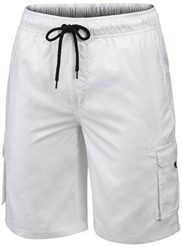 MSB01-WHT-XL(テスラ)TESLA メンズ 水着 サーフパンツ 海水パンツ ボードショーツ スイムウエア ミドル丈 [UVカット・吸汗速乾] ラッシュトレンカ マリントレンカ スイムトレンカ サ-フトランクス