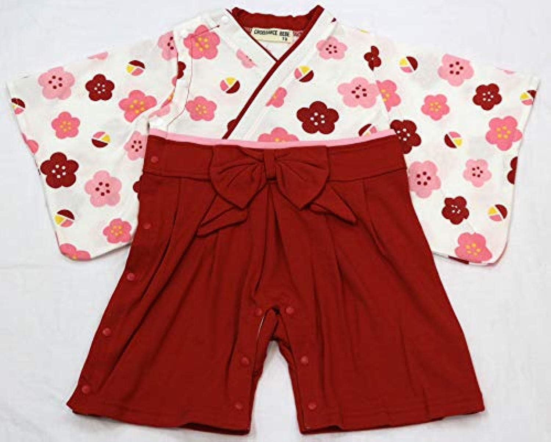はかま風 カバーオール 女の子 赤 サイズ70、80 ロンパース 袴風
