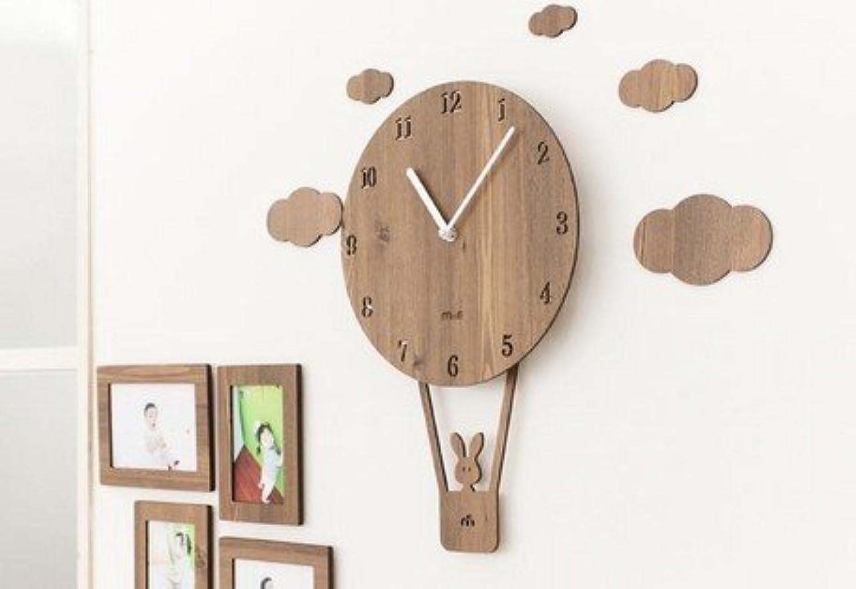 ハンドメイドの壁掛け時計 SKY BALOON 気球 (ブラウン)