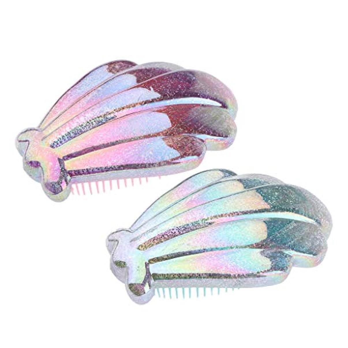 ナビゲーション光の百年P Prettyia 女性用 2個 滑らか ウェット ドライ ヘアブラシ 帯電防止 ヘアコーム