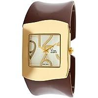 Viva 14k Gold Plated Brown Acrylic Bangle Fashion Watch #V2615BR