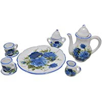 (Blue Rose Floral) - 1:6 Scale 10 Piece Mini Dollhouse Size Blue Floral Tea Set with Teapot, Sugar, Creamer, Two Cups and Saucers, and Plate
