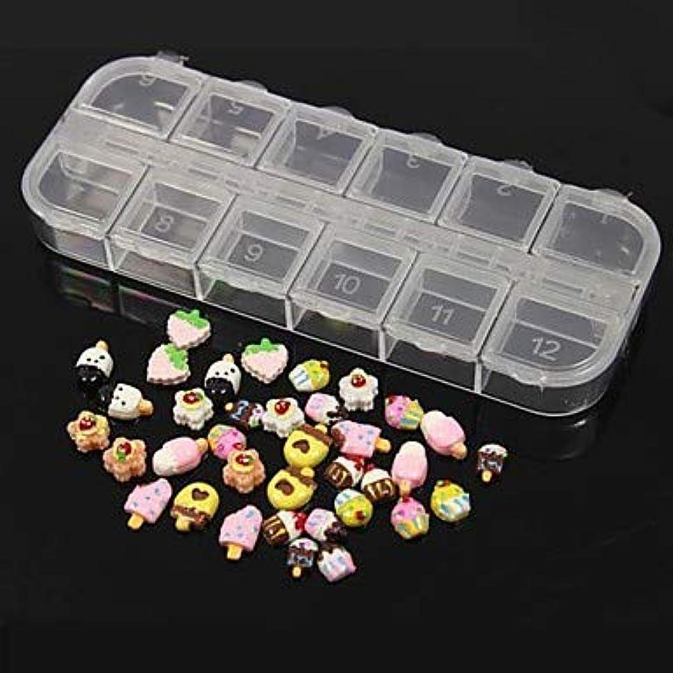触手防水対処36個12デザインランダムかわいいキャンディーアイスクリームアクリル樹脂セットネイルアートの装飾
