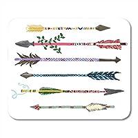マウスパッドアステカ6カラフルな矢印で部族描画ヒップスター弓マウスパッドノートブック、デスクトップコンピューターマウスマット、オフィス用品