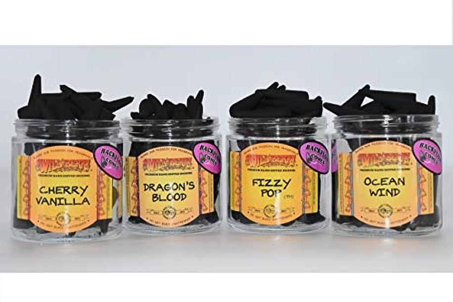 彼らのものパイドックNature's Enlightenment サンプル パック バックフロー Wildberry お香 コーンパック - 各香り2個 オーシャンウインド、フィジーポップ、ドラゴンブラッド、チェリーバニラ