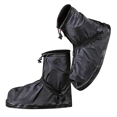 [moofun] シューズカバー 靴カバー 防水 梅雨対策 レインカバー軽量 滑り止め コンパクト 雨 泥避け 雨具 男女兼用 靴の保護 履きやすい 登山 自転車用 通勤通学 手入れ簡単 (L, ブラック)