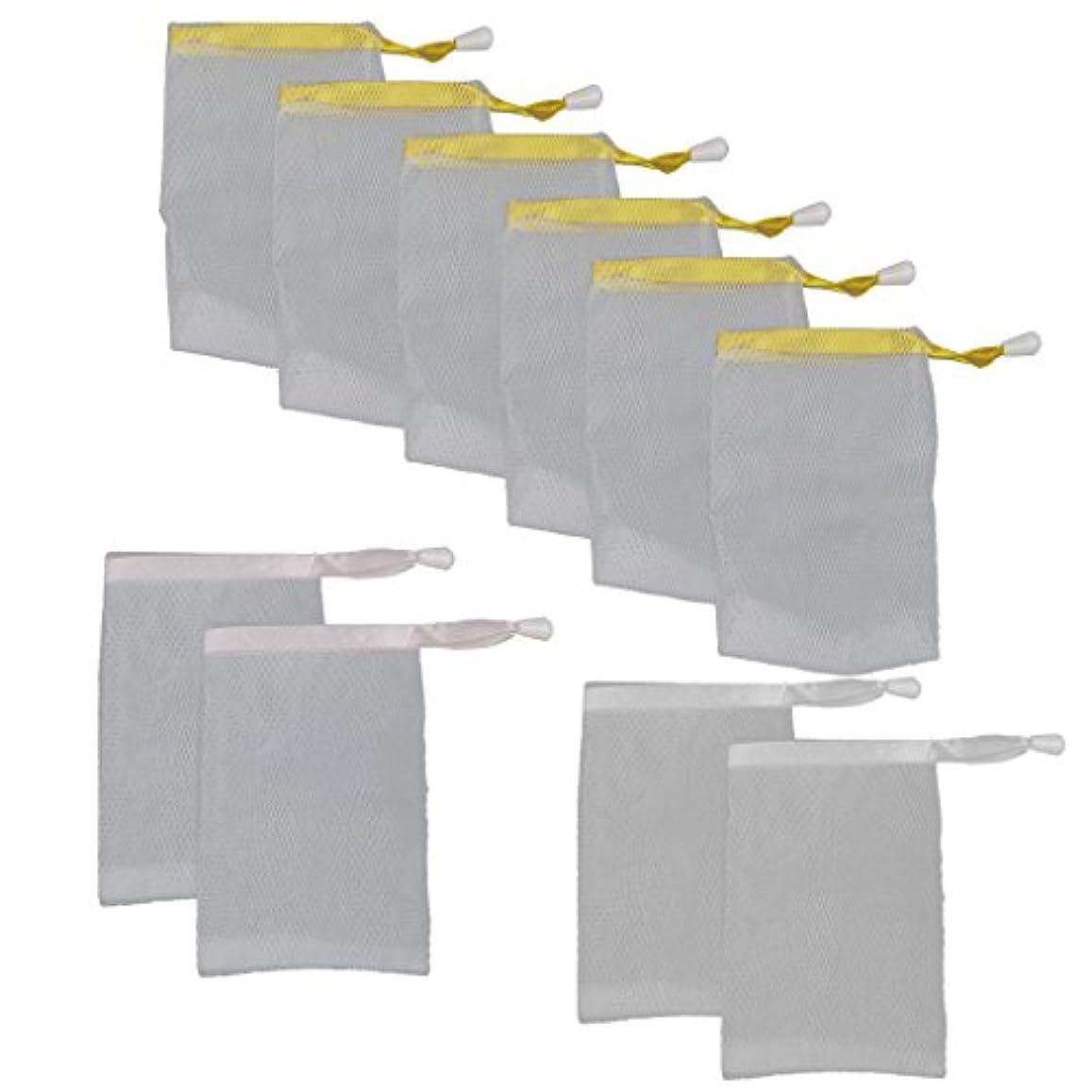 危険を冒しますインセンティブ処理するメッシュ製 泡立て ホイップ 石鹸 ポーチ ネット ホルダー 巾着バッグ 10個