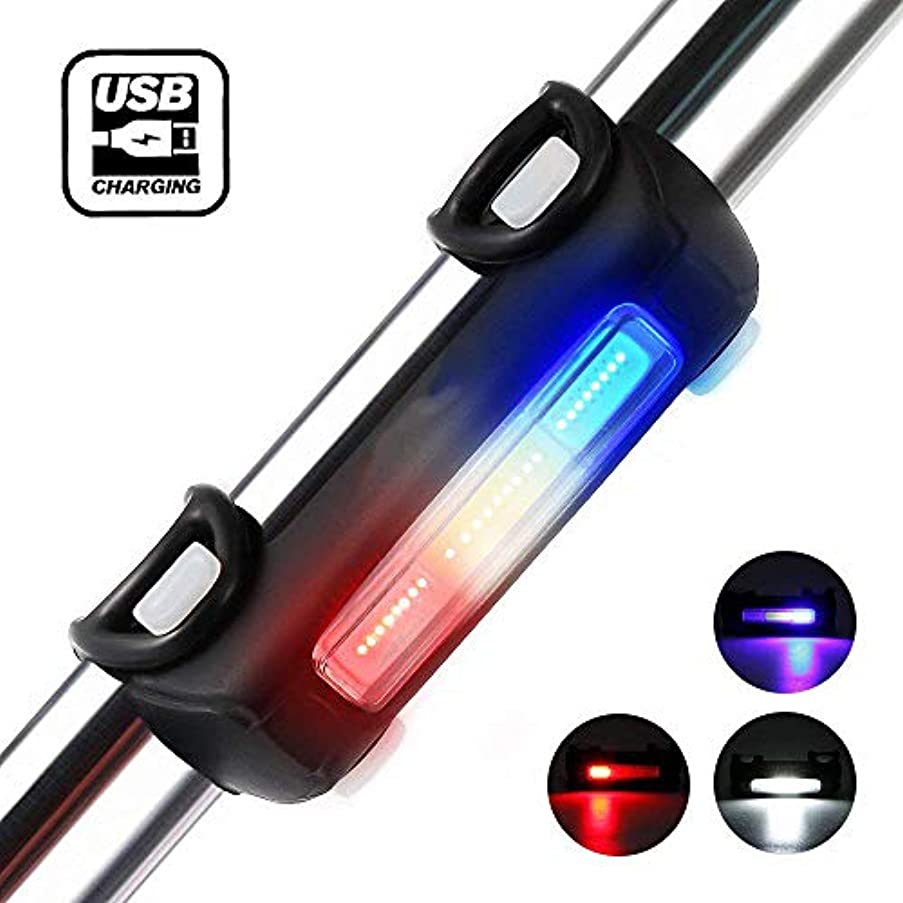 思われるフェンス交通MUTANG 自転車Taillightウルトラレッド&ブルー&ホワイト7ライトモード3色ディミング自転車ライトUSB充電式ライト - 防水自転車ライト、ベストフロントとリアサイクル照明、インストールが簡単