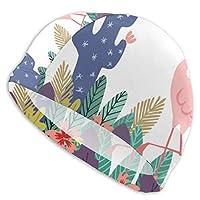 スイムキャップ 水泳帽 フラミンゴ サボテン ツツジの花 動植物大集合 泳ぎキャップ メンズ レディース 成人 男女適用