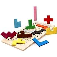 【 Alnair 】 木製 木のおもちゃ パズルゲーム テトリス カラフル パズル 知育玩具 認知症 頭の体操に (WD156)