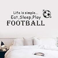 Clamsxgus 人生はシンプルなプレイサッカーサッカービニール壁デカール家の装飾引用Diyアート壁画リムーバブルウォールステッカーポスター68センチX24センチ