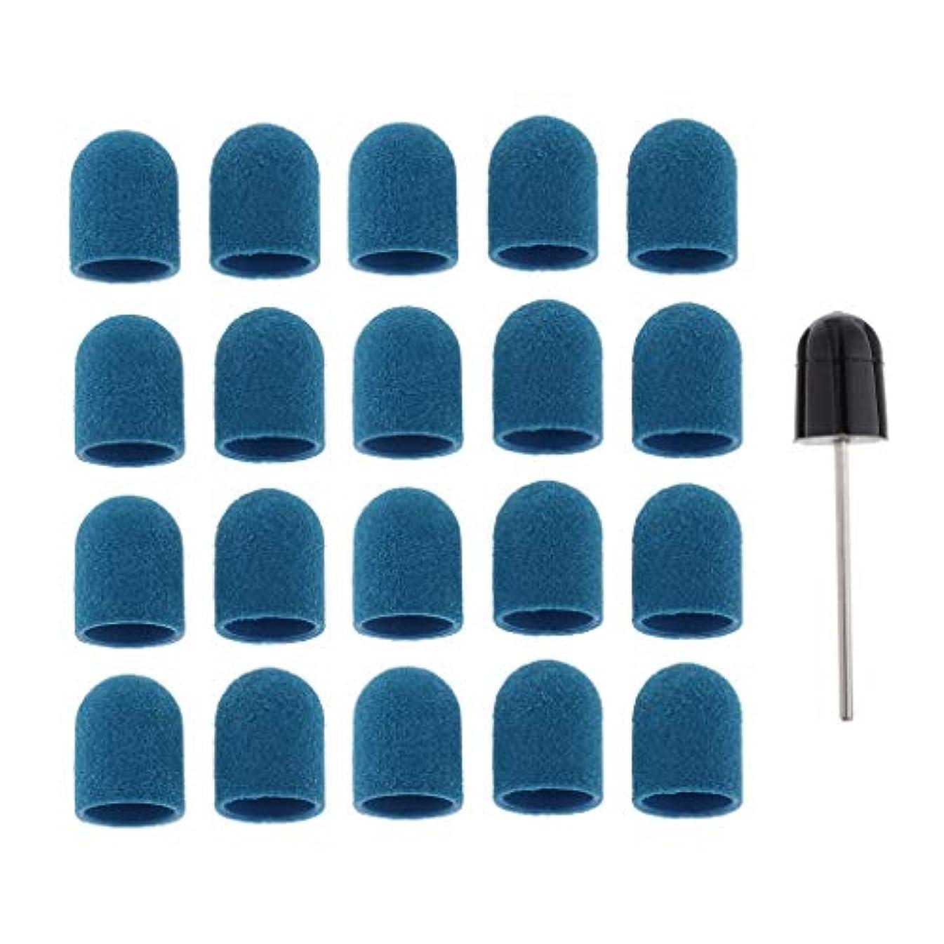 商品山積みの酔ったPerfeclan ネイルアート サンディングバンド ネイルポリッシング研削ヘッド サンディングリングキャップ 全5カラー - 青