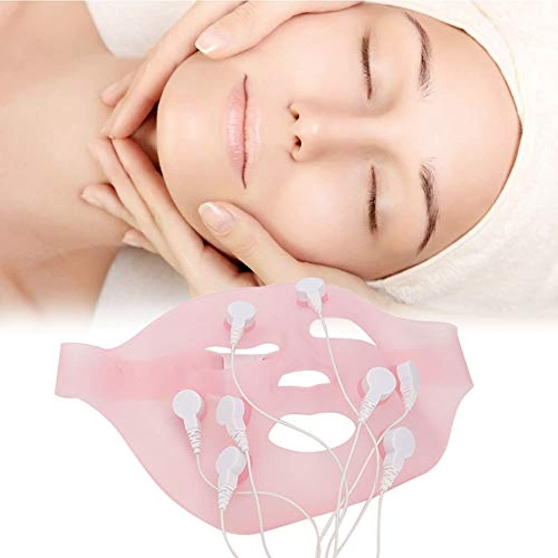 電動シリコン 3D振動 美容マッサージ スキンケア マッサージスパフェイスマスク、自然なV字型の顔、なめらかな肌、滑らかな細い線の構築、エッセンス吸収の促進(2)